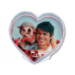 Bola de nieve de fotma de corazón personalizada con fotos